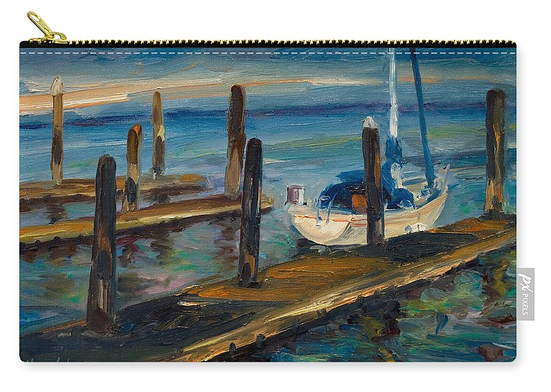 Marina Carry-all Pouch featuring the painting China Basin Docks by Rick Nederlof