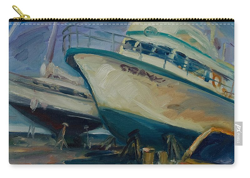 Boats Carry-all Pouch featuring the painting China Basin by Rick Nederlof