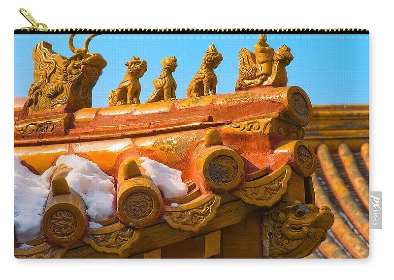 China Carry-all Pouch featuring the photograph China Forbidden City Roof Decoration by Sebastian Musial
