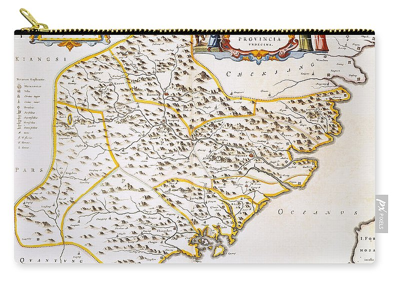 1662 Carry-all Pouch featuring the photograph China: Fujian Map, 1662 by Granger