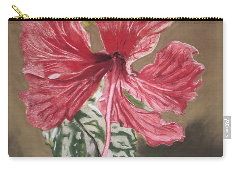 Flower Carry-all Pouch featuring the painting China Rose by D Turner