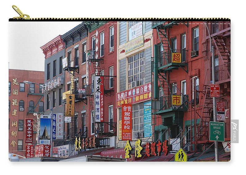 Architecture Carry-all Pouch featuring the photograph China Town Buildings by Rob Hans