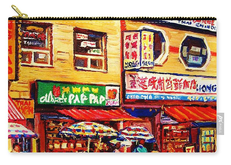 Montreal Carry-all Pouch featuring the painting Chinatown Markets by Carole Spandau