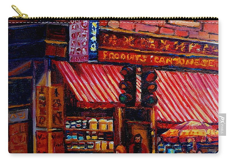 Chinatown Carry-all Pouch featuring the painting Chinatown Montreal by Carole Spandau
