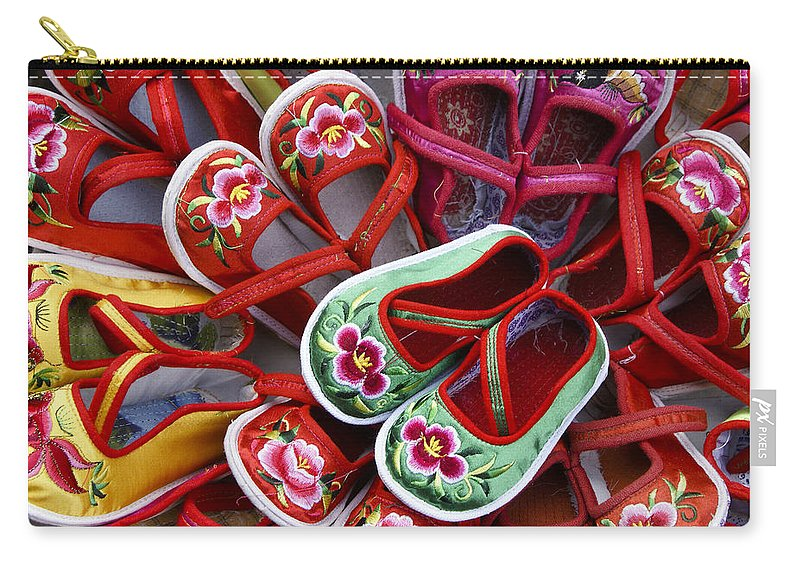 Asia Carry-all Pouch featuring the photograph Chinese Baby Shoes by Michele Burgess