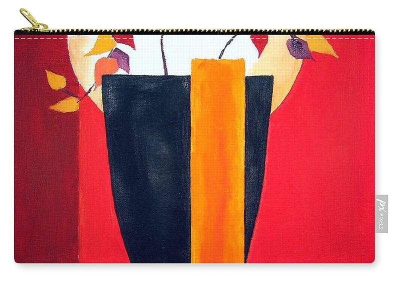 Flower Carry-all Pouch featuring the painting Chinese Flower On Vase by Alban Dizdari