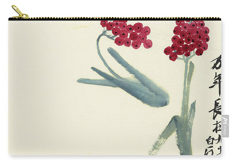 Chinese Hawthorn Carry-all Pouch featuring the painting Chinese Hawthorn by Qi Baishi