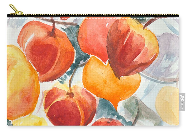 Flowers Carry-all Pouch featuring the painting Chinese Lanterns - Symbol Of Friendship by Elisabeta Hermann