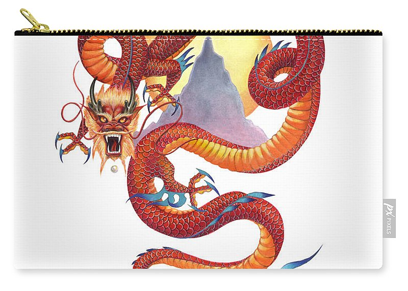Dragon Carry-all Pouch featuring the painting Chinese Red Dragon by Melissa A Benson