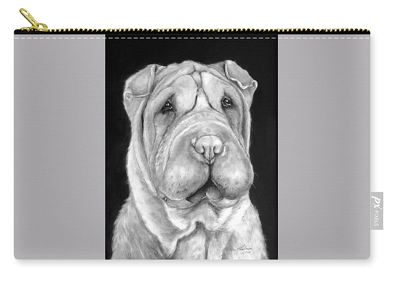 Sharpei Carry-all Pouch featuring the painting Chinese Sharpei by Portraits By NC