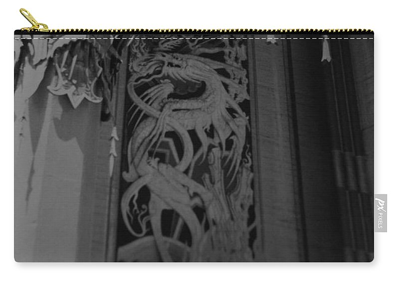 Black And White Carry-all Pouch featuring the photograph Chinese Theater by Rob Hans