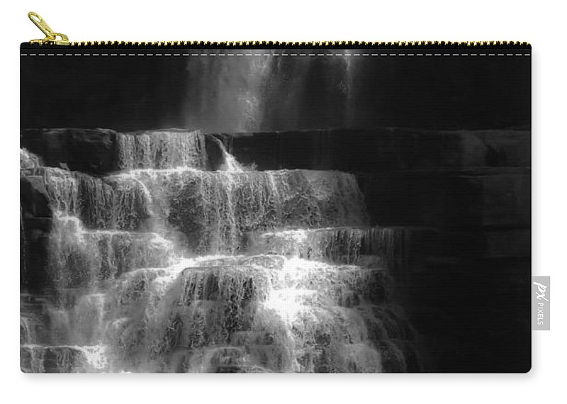 Chittenango Falls Carry-all Pouch featuring the digital art Chittenango Falls Bw by DigiArt Diaries by Vicky B Fuller