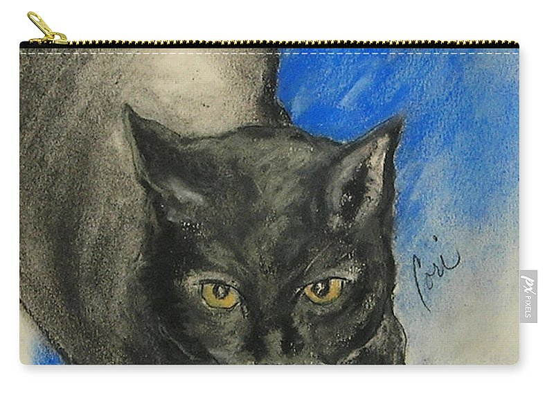 Cat Carry-all Pouch featuring the drawing Chloe by Cori Solomon