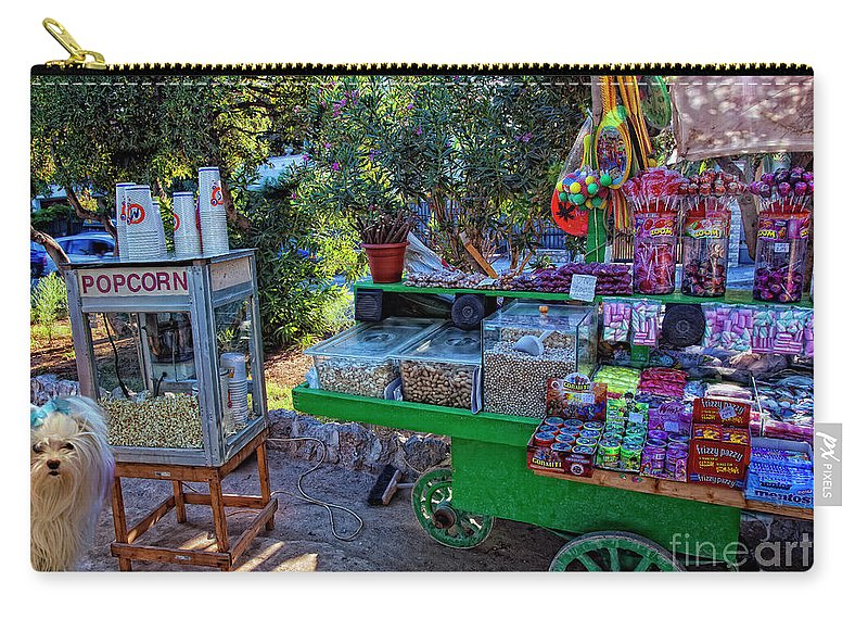 Candy Carry-all Pouch featuring the photograph Chloe's Popcorn Dream by Madeline Ellis