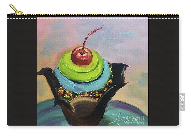Cake Carry-all Pouch featuring the painting Chocolate Cupcake With Cherry by Katie Richcreek