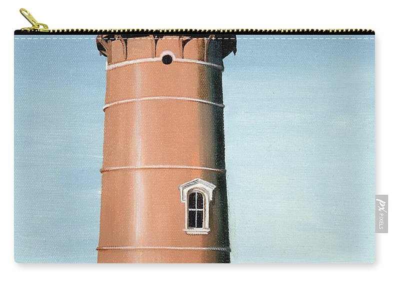 Lighthouse Carry-all Pouch featuring the painting Chocolate Lighthouse by Mary Rogers