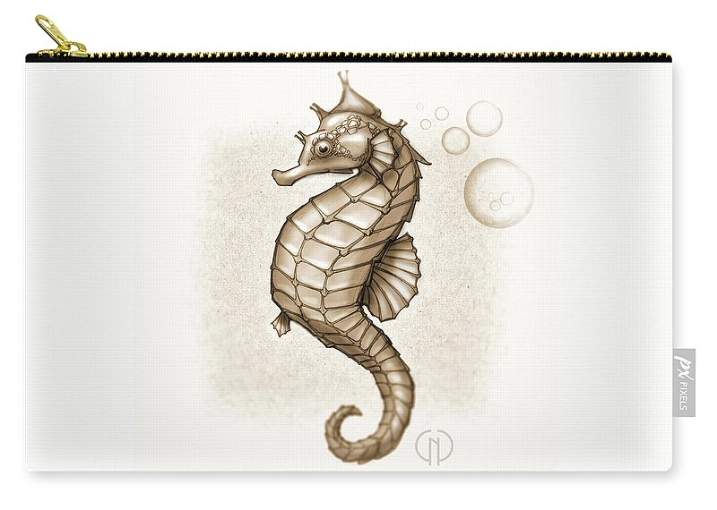 Seahorse Carry-all Pouch featuring the mixed media Chocolate Seahorse by Catherine Noel