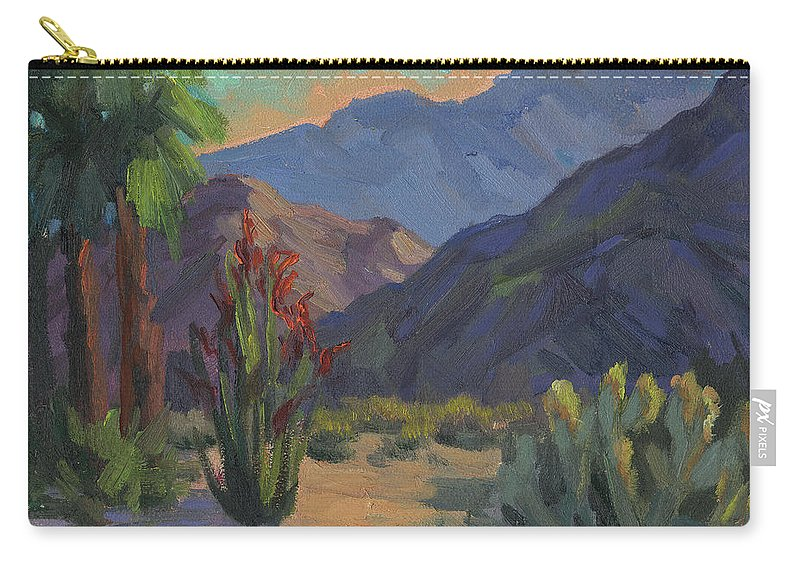 Cholla Cactus Carry-all Pouch featuring the painting Cholla At Smoketree Ranch by Diane McClary