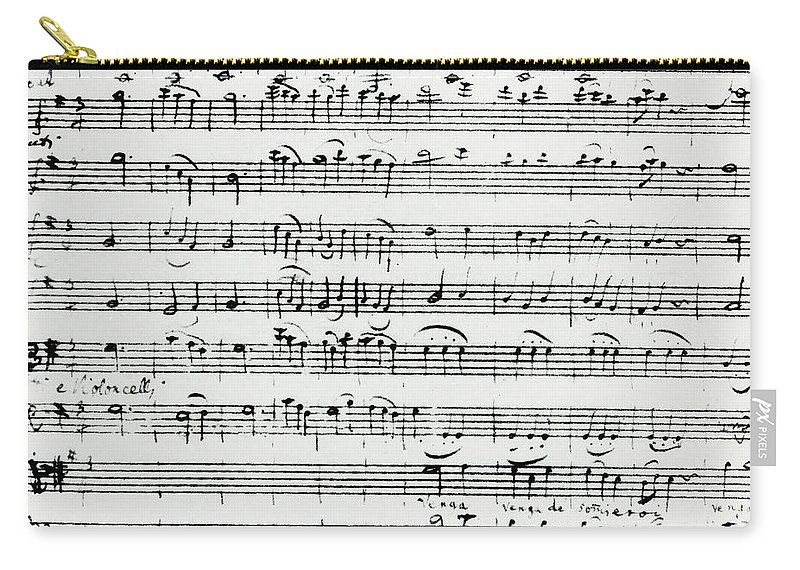 Mozart Carry-all Pouch featuring the drawing Chorus Of Shepherds, Handwritten Score Of The Opera Ascanio In Alba by Wolfgang Amadeus Mozart