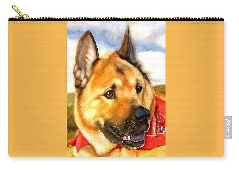 Chow Carry-all Pouch featuring the painting Chow Shepherd Mix by Marilyn Jacobson