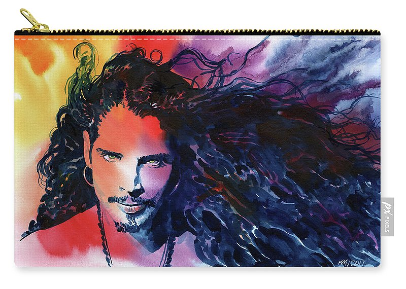 Soundgarden Carry-all Pouch featuring the painting Chris Cornell by Ken Meyer jr