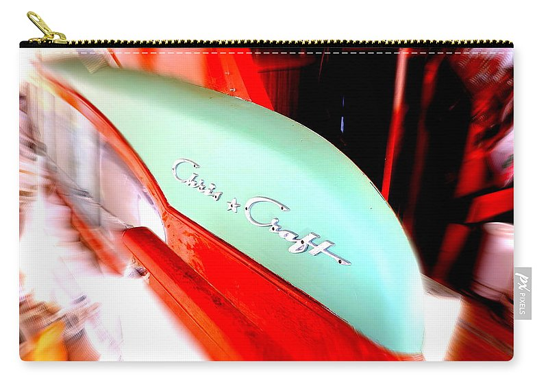 Chris Craft Carry-all Pouch featuring the photograph Chris Craft In Blur by Dawn Stone