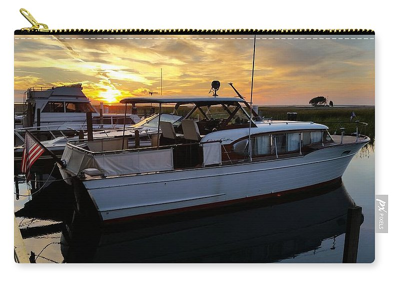 Chris Craft Carry-all Pouch featuring the photograph Chris Craft In The Evening by Dawn Stone