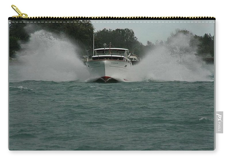 Constellation Carry-all Pouch featuring the photograph Chris Craft Splash by Dawn Stone