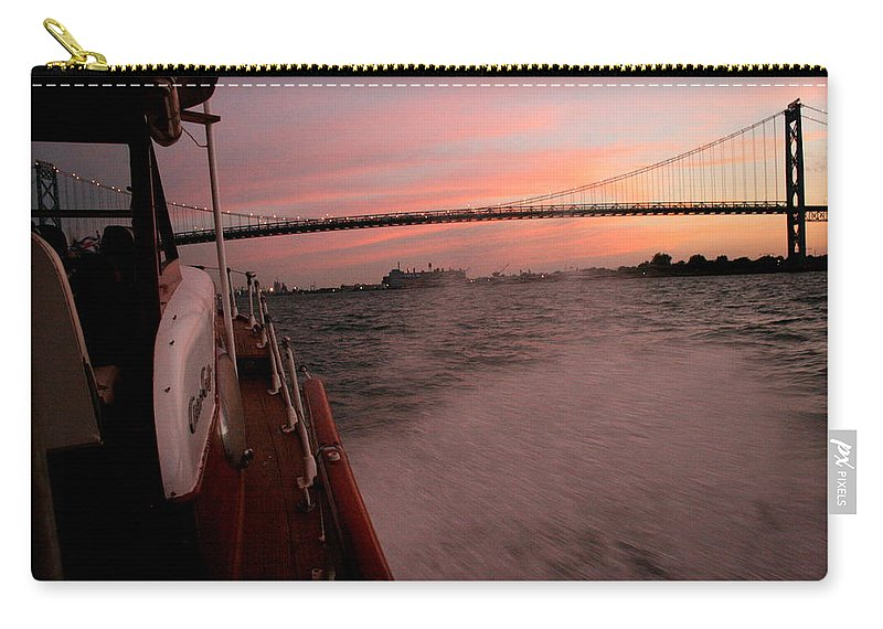 Chriscraft Carry-all Pouch featuring the photograph Chris Craft To The Bridge by Dawn Stone