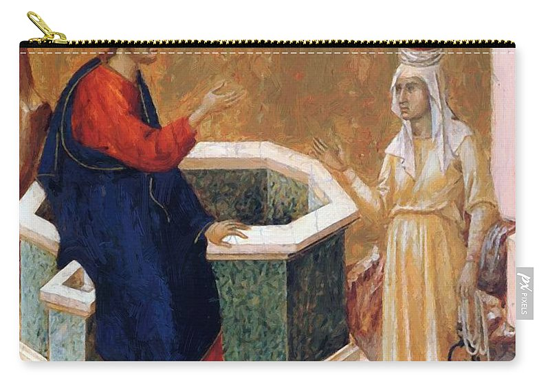 Christ Carry-all Pouch featuring the painting Christ And The Samaritan Woman Fragment 1311 by Duccio
