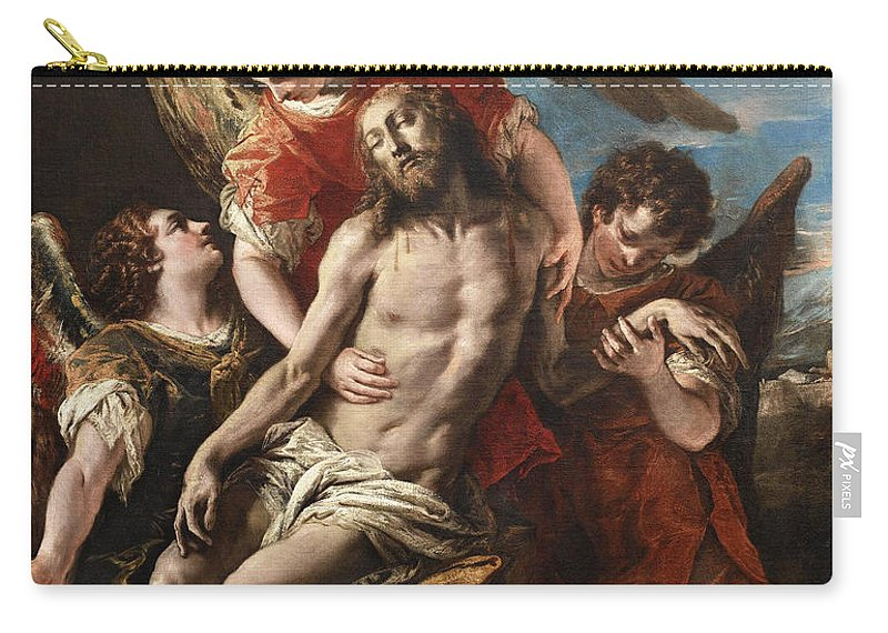 Sebastiano Ricci Carry-all Pouch featuring the painting Christ Mourned By Three Angels by Sebastiano Ricci