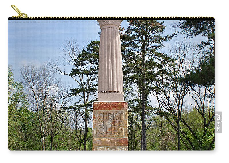 Christ Of The Ohio Carry-all Pouch featuring the photograph Christ Of The Ohio by Sandy Keeton