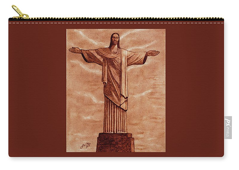 Jesus The Redeemer Carry-all Pouch featuring the painting Christ The Redeemer Statue Original Coffee Painting by Georgeta Blanaru