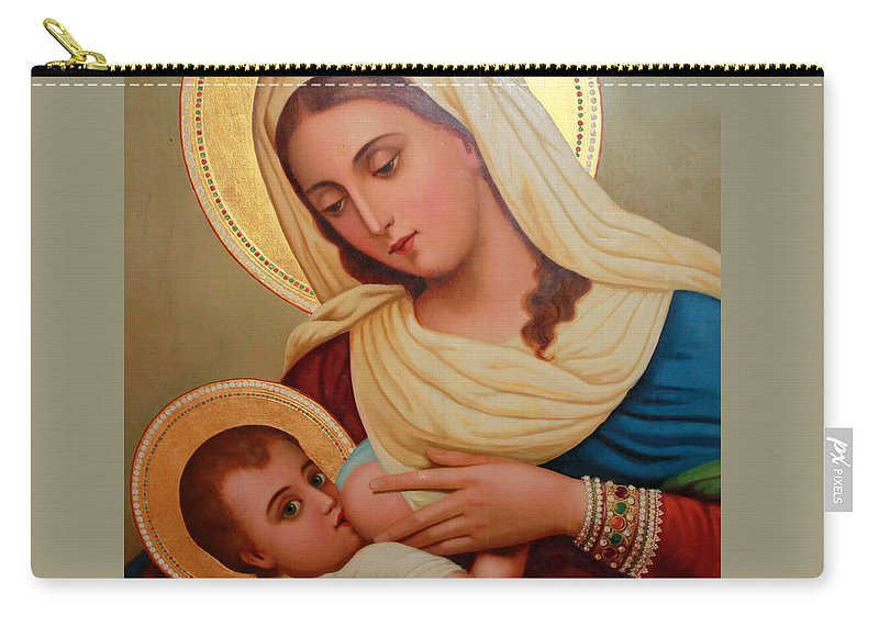 Christianity Carry-all Pouch featuring the painting Christianity - Baby Jesus by Munir Alawi