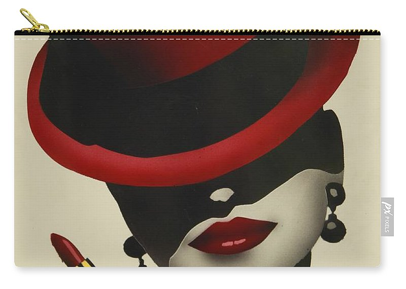 Christion Dior Red Hat Lady Carry-all Pouch featuring the painting Christion Dior Red Hat Lady by Jacqueline Athmann