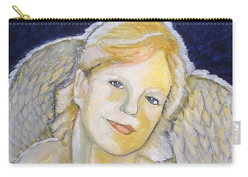 Angel Carry-all Pouch featuring the painting Christmas Angel  Finished by J Bauer