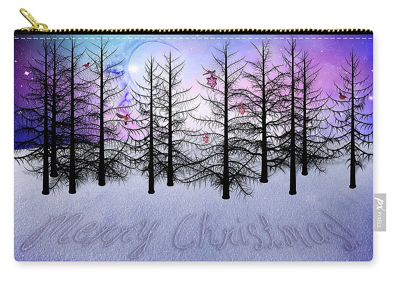 Christmas Carry-all Pouch featuring the digital art Christmas Bare Trees by Mihaela Pater