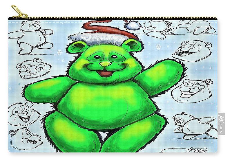 Christmas Carry-all Pouch featuring the greeting card Christmas Bear by Kevin Middleton