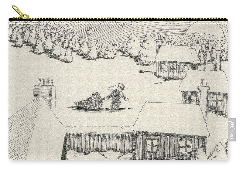 Christmas Carry-all Pouch featuring the drawing Christmas by Caroline Jennings