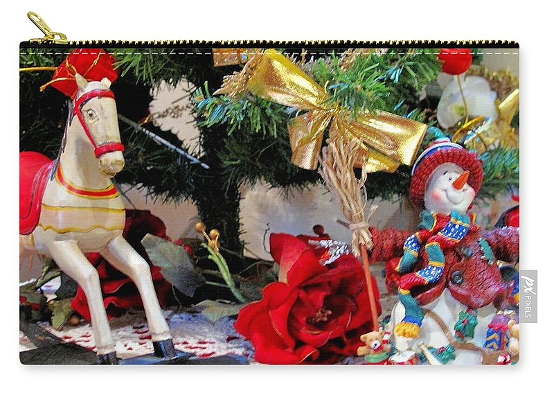 Rocking Horse Carry-all Pouch featuring the photograph Christmas Characters by Ian MacDonald