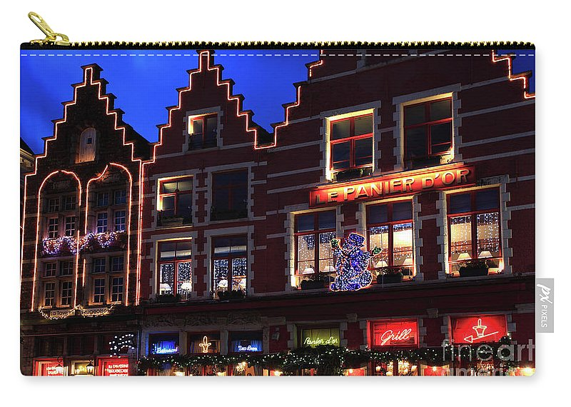 Christmas Decorations Carry-all Pouch featuring the photograph Christmas Decorations On Buildings In Bruges City by Dave Porter