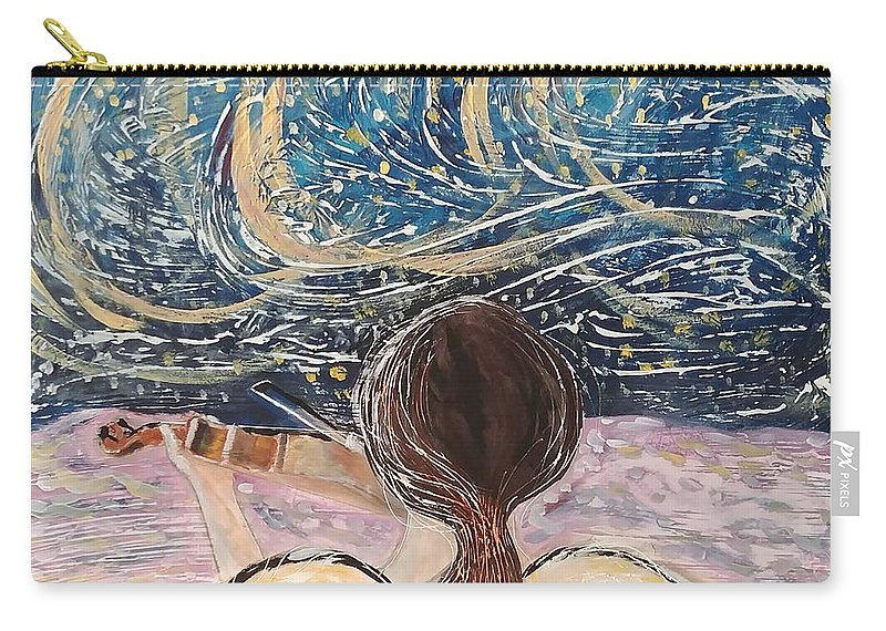 Angel Carry-all Pouch featuring the painting christmas Eve and a Starry Night by J Bauer