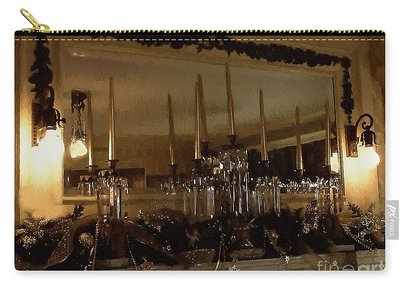 Antiques Carry-all Pouch featuring the painting Christmas Eve In Brown And Gold by RC DeWinter