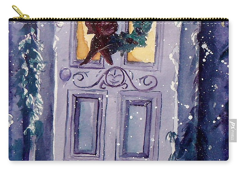 Holiday Scene Carry-all Pouch featuring the painting Christmas Eve by Jan Bennicoff