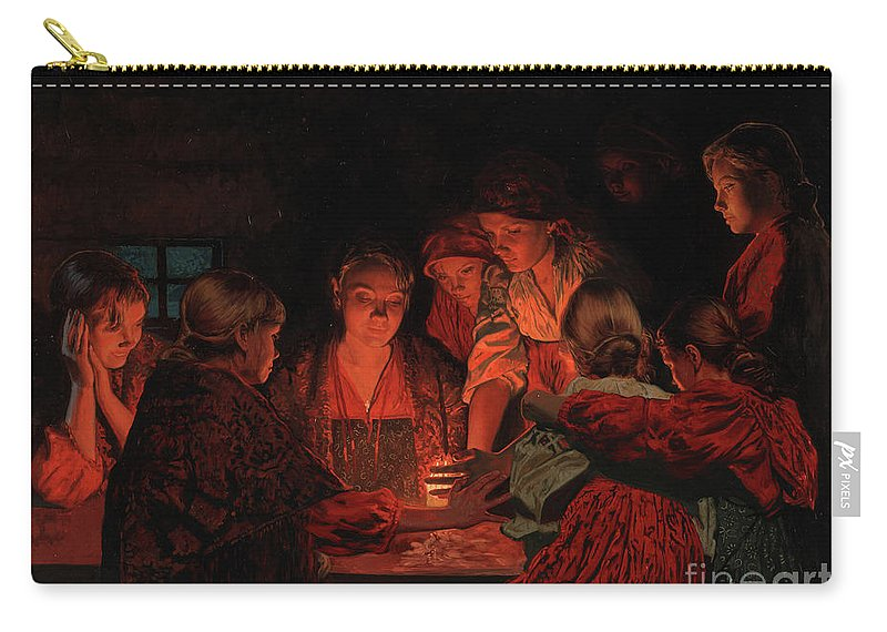 Christmas Carry-all Pouch featuring the painting Christmas Fortune-telling. by Simon Kozhin