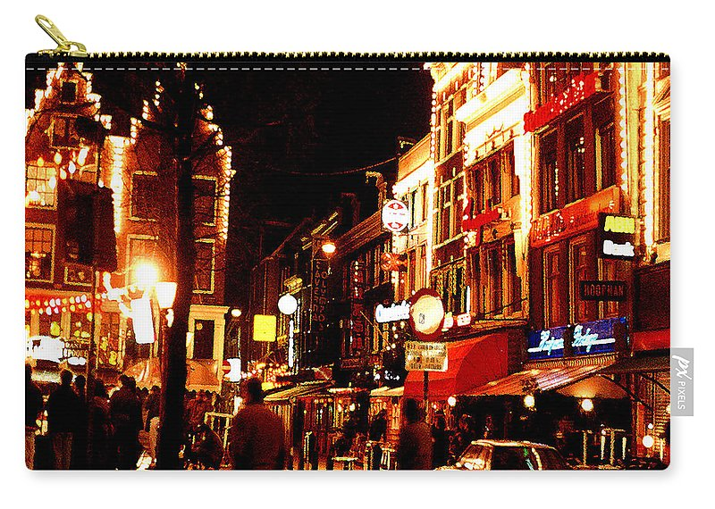 Night Carry-all Pouch featuring the photograph Christmas in Amsterdam by Nancy Mueller