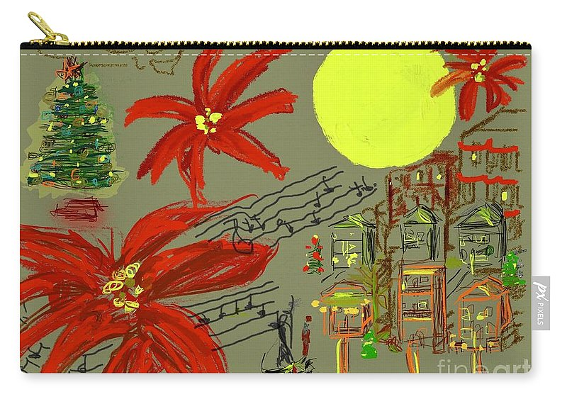Christmas Carry-all Pouch featuring the digital art Christmas In The City by Mary Jane Mulholland