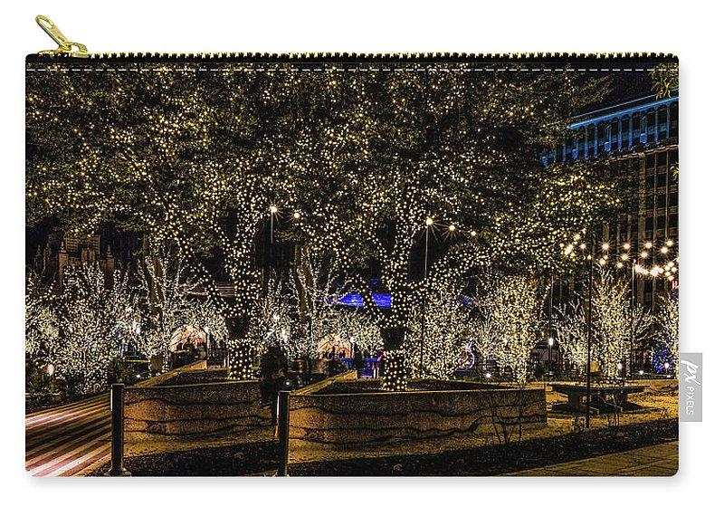 San Jacinto Plaza Carry-all Pouch featuring the photograph Christmas Lights by Subhadra Burugula