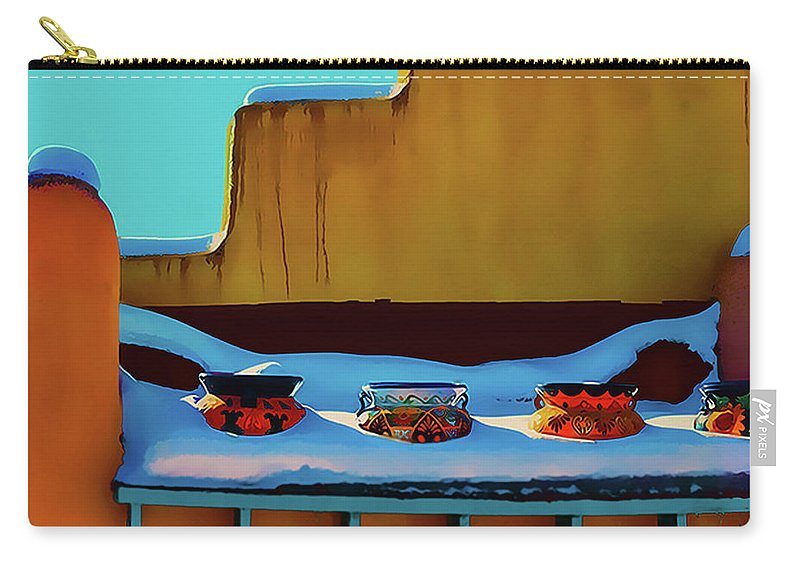 Pottery Carry-all Pouch featuring the photograph Christmas Morning Taos by Terry Fiala