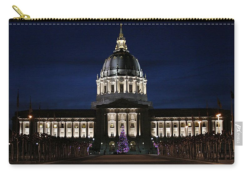 Christmas Carry-all Pouch featuring the photograph Christmas Night In Sf by Masha Batkova